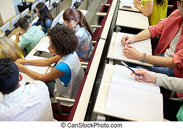 international students at university lecture hall