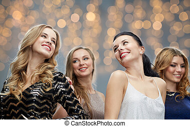 happy young women dancing at holidays party - party,...