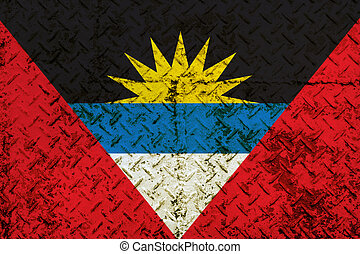 Antigua and Barbuda Flag on steel wall