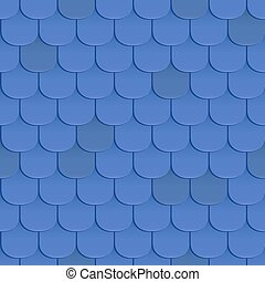 Shingles roof seamless pattern. Blue color. Classic style....