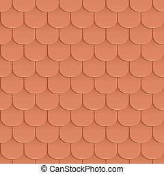 Shingles roof seamless pattern. Orange color. Classic style....