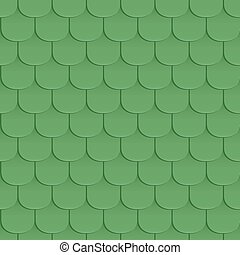 Shingles roof seamless pattern. Green color. Classic style....