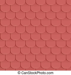 Shingles roof seamless pattern. Red color. Classic style....