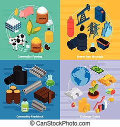 Commodity Concept Icons Set - Commodity concept icons set...
