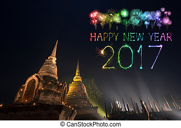 2017 Happy New Year Fireworks over Sukhothai historical...