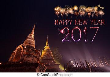 2017 Happy New Year Fireworks over Sukhothai historical...
