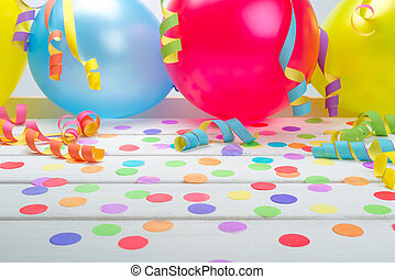 Party Background with Confetti Streamers and Balloons -...