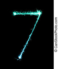 7.Digit seven made of firework sparklers at night