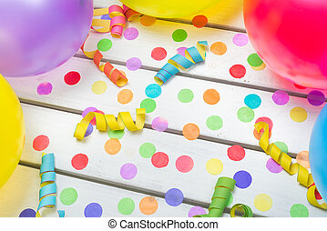 Party Background with Confetti Streamers and Balloons from above