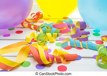 Party Background with Confetti Streamers and Balloons