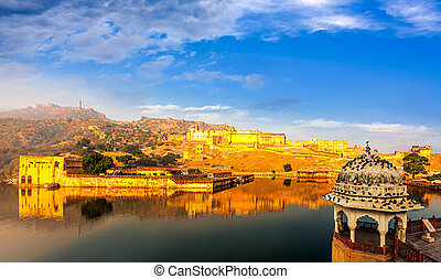 Amber Fort, Rajasthan, India - Amber Fort on lake Maota near...