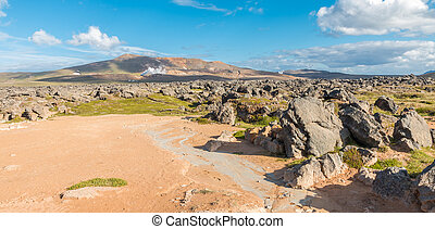 Krafla Geothermal Power Plant - View over the Krafla area...