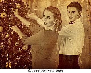 Couple on Christmas party. Black and white retro portrait. -...