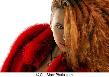 young attractive woman in red and black isolated on white