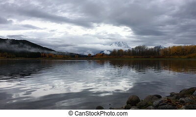 Grand Teton National Park Fall Colors low angle Oxbow Point...