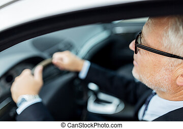 happy senior businessman driving car - transport, business...