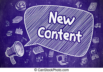 New Content - Cartoon Illustration on Blue Chalkboard. - New...