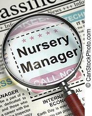 Now Hiring Nursery Manager. 3D. - Newspaper with Classified...