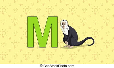 Monkey. English ZOO Alphabet - letter M - Animated English...