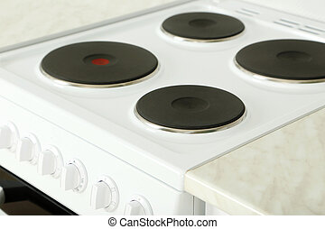 Electric stove in the kitchen, close up