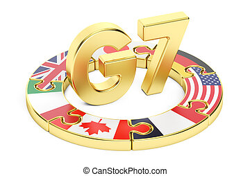 G7 puzzle concept, 3D rendering isolated on white background