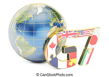 G7 global concept, 3D rendering isolated on white background