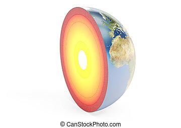 structure of earth planet, 3D rendering