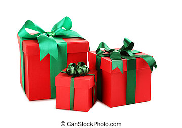 Gift boxes with ribbon isolated on a white