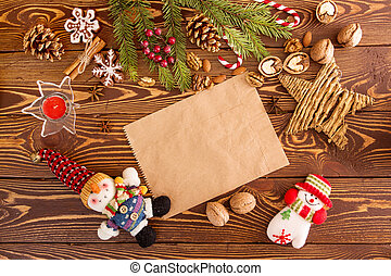 Christmas decorations. Set for greeting card with copy space...