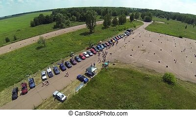Aerial view of BMW e30 motor show