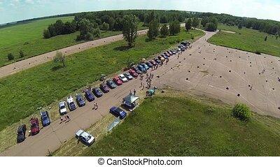 Aerial view of BMW e30 motor show