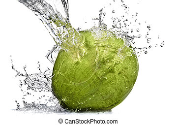 fresh water splash on coconut isolated on white