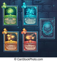Set spell cards of nature, ice, fire, light. For web, video...