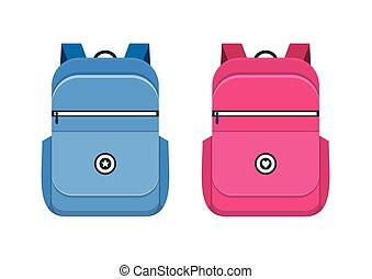 Backpack isolated on white background. School bag handle...