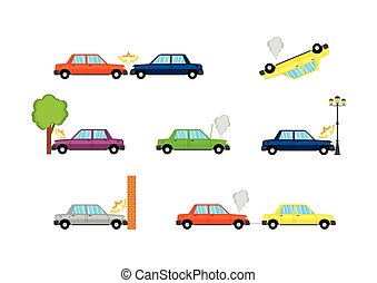 Car accidents-01.eps - Car crash and accidents, flat icons....