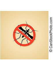 Mosquito4-01.eps - Mosquito warning sign. Silhouette of...