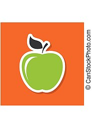 Apple2-01.eps - Apple sticker in flat style with shadow....