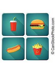 Icons set Fast Food. Hamburger, Hot Dog, French Fries, Soda.