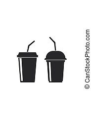 Plastic cups icon. Drink, juice or smoothies - Plastic cups...