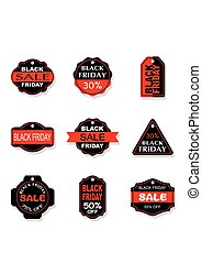 Black Friday sales tag and banners vector set. - Black...