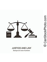 Law icons. Scales of justice, gavel and books. Concept