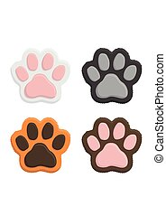 Set kitten paws. Animal cat paw print in flat style isolated...