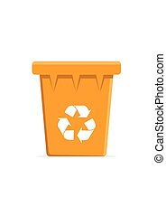 Vector Orange Recycle Bin for Trash and Garbage. Vector...
