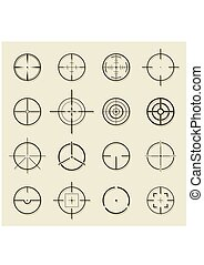 Set of different flat Crosshair sign icons. Vector...