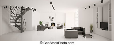 Apartment with stair and fireplace interior panorama 3d...