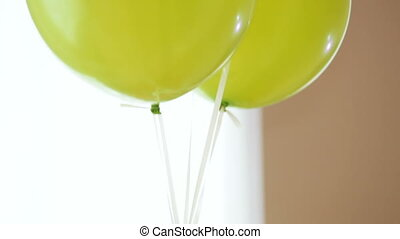 Balloons on ropes - Plenty of colorful balloons field and...