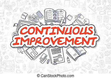 Continuous Improvement - Cartoon Red Text. Business Concept....