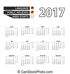 Calendar 2017 on German language. With Public Holidays for Germany in year 2017. Week starts from Monday.