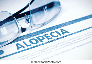 Ilustração, Alopecia, conceito, -, diagnóstico, medicina, 3D...