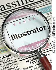 Job Opening Illustrator. 3D. - Illustrator. Newspaper with...